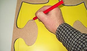 KROK I – Odrysowanie puzzli na panelach pionowych