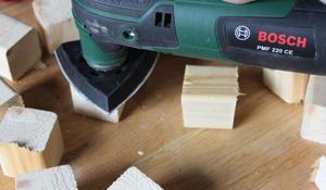 KROK III - Szlifowanie drewnianych klocków